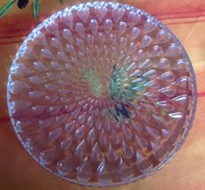 Baccarat crystal tray with a tear drop motif, mint condition - signed.