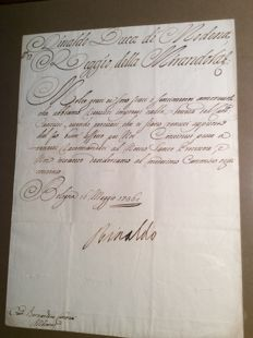 Manuscript; Letter with signature of Rinaldo d'Este, Duke of Modena and Reggio - 1736