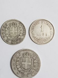 Kingdom of Italy, Vittorio Emanuele II, Vittorio Emanuele III and Umberto I, Lot of 65 coins (including 3 silver coins)