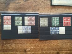 The Netherlands 1929/1930 - Child syncopated perforation - NVPH R82/R85 and R86/R89 in blocks of 4