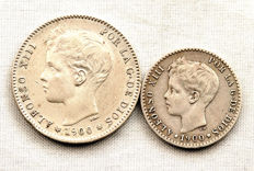 Spain - Alfonso XIII - Lot with 1 peseta and 50 centimes in silver (2 coins) - 1900 - Madrid