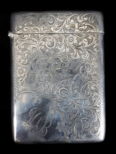 Walker and Hall, silver card case , Sheffield 1908, 925/1000