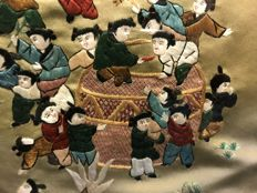 "Large Chinese silk hand-embroidered ""group of playing children"" - China - mid 20th century"