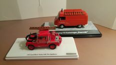 "True Scale Miniatures / TSM - Premium ClassiXXs - Scale 1/43 - and Rover Series 1 88"" Fire Department 1957 & Hanomag F25 Fire Department in red"