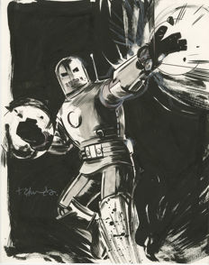 Tommy Lee Edwards - Marvel Adventures #9 : Iron Man  - Original Comic Cover Art - Inked page - (2008)