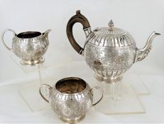 3-piece Sterling Silver tea set, England, London, 1878