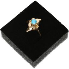 14 kt - Yellow gold ring set with turquoise - Ring size: 17 mm