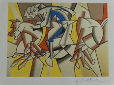 "Roy Lichtenstein Lithograph Print - "" The red horseman""- Printed Signature On Plate"