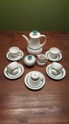 Thomas (Rosenthal Group) coffee service for 5 people; designed by Tapio Wirkkala (white lancet with green-grey stripes)