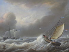 Dutch school (19th/20th century) - Schepen in de storm