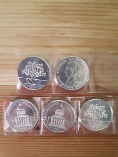 France - 100 Francs 1983/1987 (lot of 5 coins) - silver
