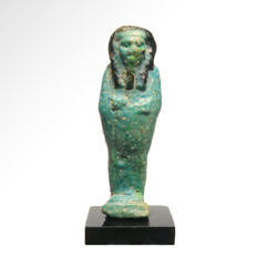 Egyptian Faience Bichrome Shabti, 6.5 cm H