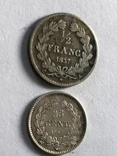 France – 25 centimes 1847 A and 1/2 franc 1837 A (lot of 2 coins) – Louis Philippe I – silver