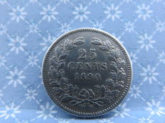 The Netherlands - 25 cent 1890a (year with dot), Willem III - silver