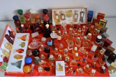 114 bottles from the large French perfumeries: Lalique, Dior, Rochas, Givenchy, Guerlain, courrèges, Y rock, Fragonard etc