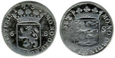 Holland and West Friesland - Scheepjesschelling or 6 pennies 1738 and 1751 - silver (2 pieces)