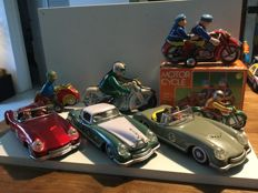 China - 3 tin cars and 4 tin motors