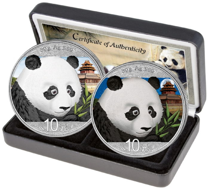 China - 10 Yuan 2018 'Panda Tag / Nacht Set' (2 munzen) - Zilver