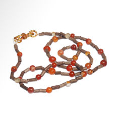 Near Eastern Silver and Cornelian Necklace, Total length= 51.1 cm L
