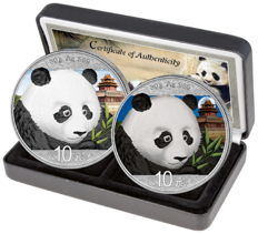 China - 2 x 10 Yuan Day & Night Set 2018 - Colour Edition with Box & Certificate - Edition of 500 Pieces Only