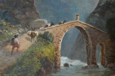 Continental school (19th century) - Laden donkeys pass over mountain bridge