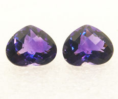 2 Amethysts (pair) - 5,54 ct - No Reserve Price