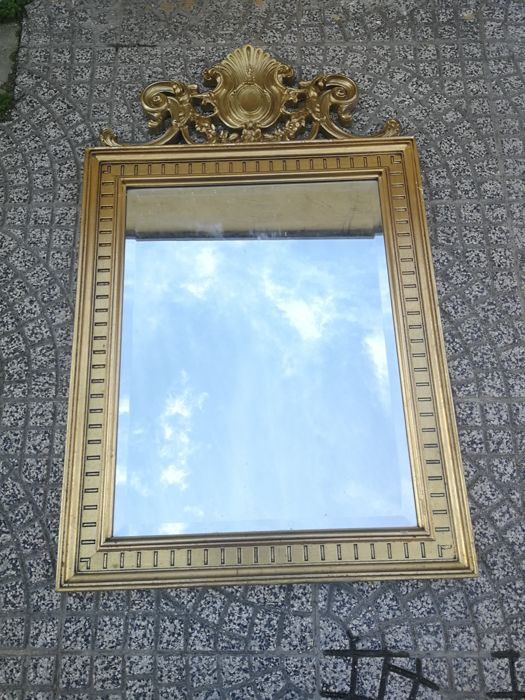 Rectangular wall mirror - cut glass, frame with top decoration ...