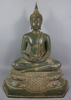 Large bronze Buddha on throne - Thailand - late-20th century (41 cm - 6.4 kg)