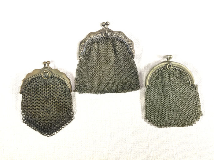 3 chain mail pouches - silver handle