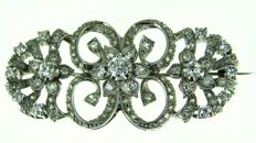 Art Deco brooch - platinum - 0.35 ct central - 1.80 ct rest - 52 x 26 mm