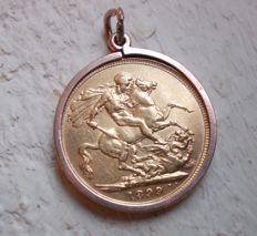 Full Gold sovereign pendant with 9ct gold mount dated 1899