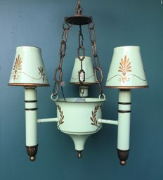 Tole peinte hand-painted chandelier in Empire style, France, circa 1930