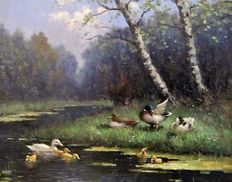 A van Gilst (1898-1981) - A family of ducks at the stream
