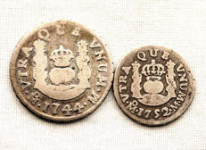 Spain - Felipe V and Fernando VI - Lot with 1 and 1/2 real (2 coins) - Columnary in silver - 1744 and 1752 - Mexico