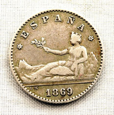 Spain - Provisional Government - 50 centimos in silver. 1869*6-9 . Madrid.