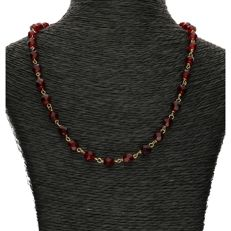 14k - Yellow gold necklace set with glass garnet - Length: 40 cm - NO RESERVE