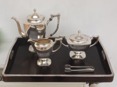 Five piece Art Deco silver tea set in original case, Ikoma, Japan, c1920