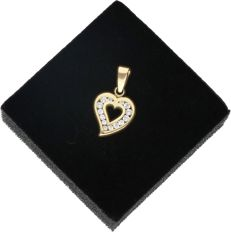 14k - Yellow gold pendant in the shape of a heart set with zirconia - Length x width: 2 x 1.1 cm