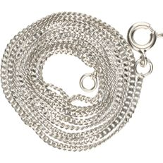14 kt white gold curb link necklace - length x width: 50 x 0.1 cm
