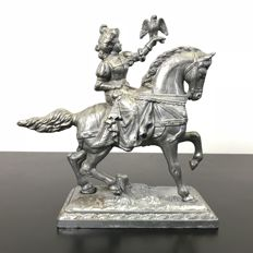 Sculpture of a falconer on horseback - zinc - 20 cm in height-2nd half of the 20th century