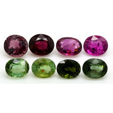 8 Pink and Green Tourmaline - 9.89 ct.