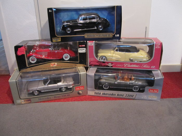 Various - Scale 1/18 - Lot with 5 models: Cadillac & Mercedes-Benz