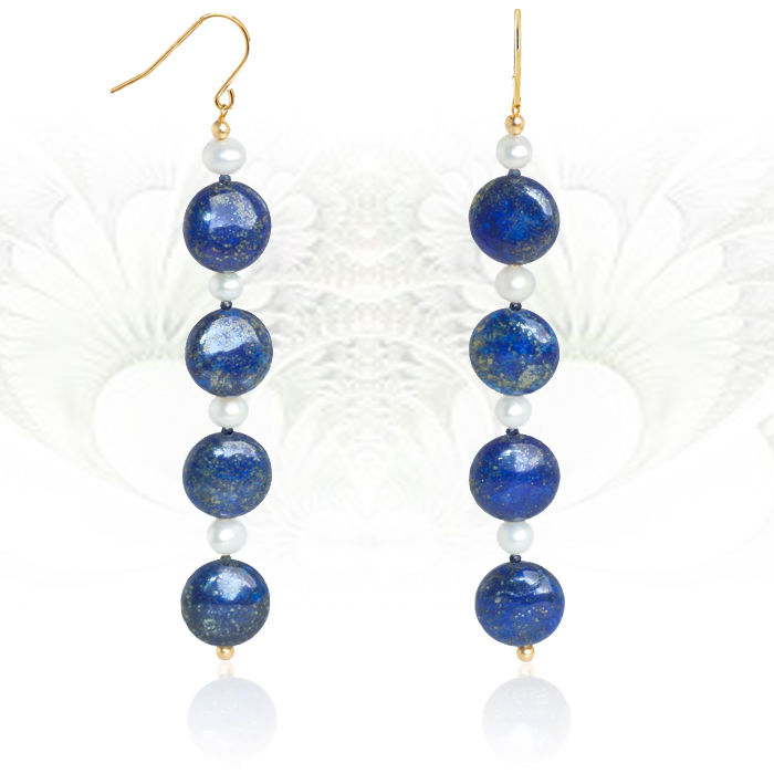 Long 14 kt yellow gold earrings with lapis lazuli, pearls and sapphires - Length 10 cm