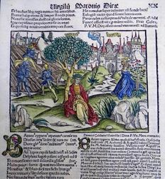 Inunabula woodcut on folio leaf, continental velin - Virgil (Publius Vergilius Maro) sitting under a tree outside his home city of Mantua, Italy - 1502