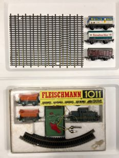 Fleischmann H0 - 1011 - complete train set with a shunter locomotive, tipper wagons and extra freight cars and rails