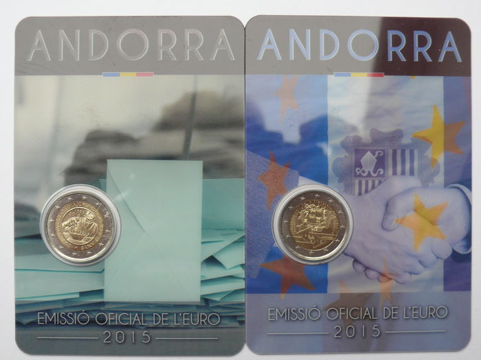 Andorra - 2 euro 2015 'customs convention with the EU' + 2 euro 2015 '30 year anniversary of the right to vote' in blister packaging