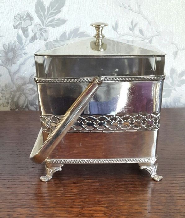 Antique cookie holder with silver-plated lid and glass insert by Cooper Brothers