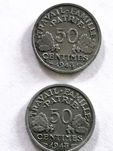 France - 50 cents, 1943, 'heavy' and 1943-B (lot of 2 coins) - aluminium