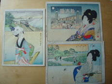 """Three original woodblock prints by Odake Kunikazu (1868-1931) - 'April', 'May,' and 'August' from the series """"The Twelve Months of Tokyo""""  - Japan - 1901"""