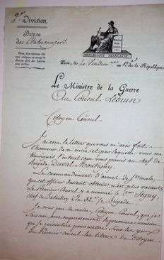 letter signed by Marshal Berthier Minister of war of Napoleon to the Consul Lebrun beautiful vignette of the Consulate YEAR XII 1812